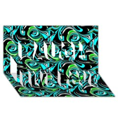 Bright Aqua, Black, and Green Design Laugh Live Love 3D Greeting Card (8x4)