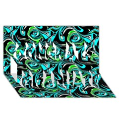 Bright Aqua, Black, and Green Design Congrats Graduate 3D Greeting Card (8x4)