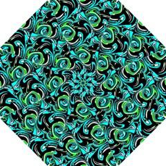 Bright Aqua, Black, and Green Design Hook Handle Umbrellas (Small)
