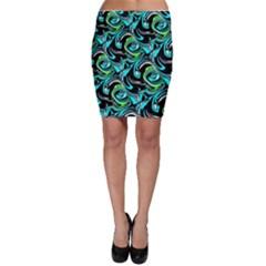 Bright Aqua, Black, and Green Design Bodycon Skirts