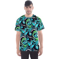 Bright Aqua, Black, and Green Design Men s Sport Mesh Tees