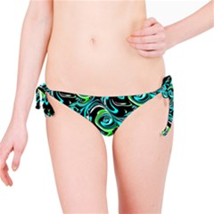 Bright Aqua, Black, and Green Design Bikini Bottoms