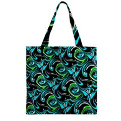 Bright Aqua, Black, and Green Design Grocery Tote Bags