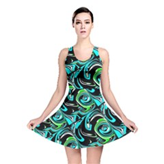 Bright Aqua, Black, and Green Design Reversible Skater Dresses