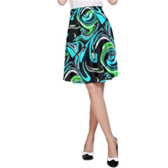 Bright Aqua, Black, and Green Design A-Line Skirts