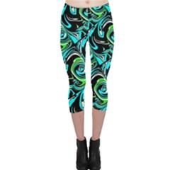 Bright Aqua, Black, And Green Design Capri Leggings