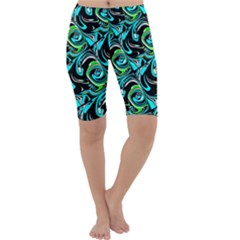 Bright Aqua, Black, And Green Design Cropped Leggings
