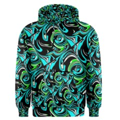 Bright Aqua, Black, and Green Design Men s Pullover Hoodies