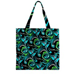 Bright Aqua, Black, And Green Design Zipper Grocery Tote Bags