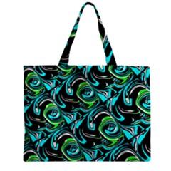 Bright Aqua, Black, And Green Design Zipper Tiny Tote Bags