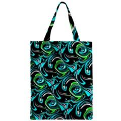 Bright Aqua, Black, and Green Design Zipper Classic Tote Bags