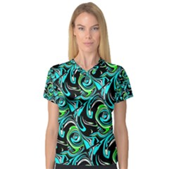Bright Aqua, Black, And Green Design Women s V Neck Sport Mesh Tee