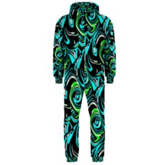 Bright Aqua, Black, and Green Design Hooded Jumpsuit (Men)