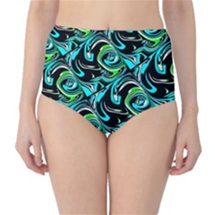 Bright Aqua, Black, and Green Design High-Waist Bikini Bottoms