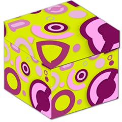 Florescent Yellow Pink Abstract  Storage Stool 12