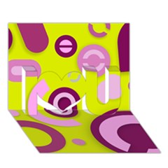 Florescent Yellow Pink Abstract  I Love You 3d Greeting Card (7x5)