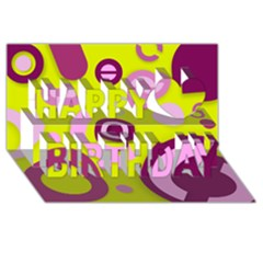 Florescent Yellow Pink Abstract  Happy Birthday 3d Greeting Card (8x4)