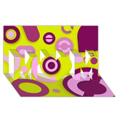 Florescent Yellow Pink Abstract  MOM 3D Greeting Card (8x4)