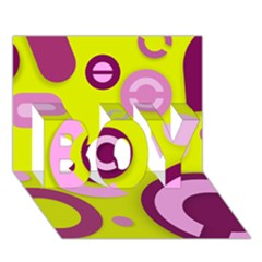 Florescent Yellow Pink Abstract  Boy 3d Greeting Card (7x5)