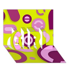 Florescent Yellow Pink Abstract  GIRL 3D Greeting Card (7x5)