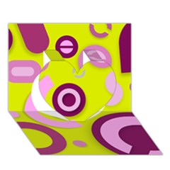 Florescent Yellow Pink Abstract  Heart 3d Greeting Card (7x5)