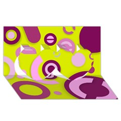Florescent Yellow Pink Abstract  Twin Hearts 3d Greeting Card (8x4)