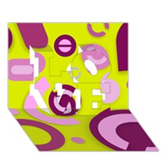 Florescent Yellow Pink Abstract  Love 3d Greeting Card (7x5)