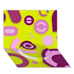 Florescent Yellow Pink Abstract  Circle Bottom 3D Greeting Card (7x5)