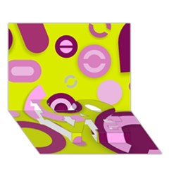 Florescent Yellow Pink Abstract  LOVE Bottom 3D Greeting Card (7x5)