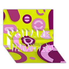 Florescent Yellow Pink Abstract  You Are Invited 3d Greeting Card (7x5)