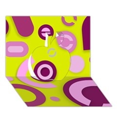 Florescent Yellow Pink Abstract  Apple 3D Greeting Card (7x5)