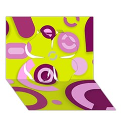 Florescent Yellow Pink Abstract  Clover 3D Greeting Card (7x5)