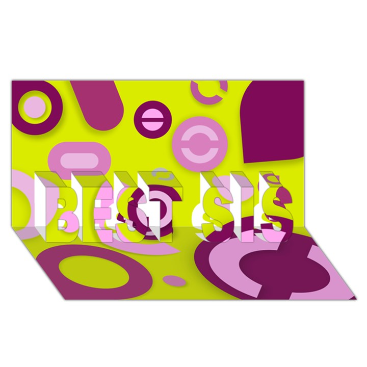 Florescent Yellow Pink Abstract  BEST SIS 3D Greeting Card (8x4)