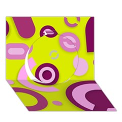 Florescent Yellow Pink Abstract  Circle 3d Greeting Card (7x5)