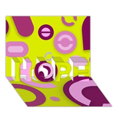 Florescent Yellow Pink Abstract  Hope 3d Greeting Card (7x5)