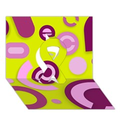 Florescent Yellow Pink Abstract  Ribbon 3D Greeting Card (7x5)