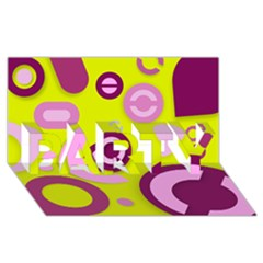 Florescent Yellow Pink Abstract  PARTY 3D Greeting Card (8x4)