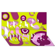 Florescent Yellow Pink Abstract  Best Wish 3d Greeting Card (8x4)