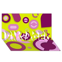Florescent Yellow Pink Abstract  ENGAGED 3D Greeting Card (8x4)