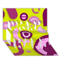 Florescent Yellow Pink Abstract  Work Hard 3d Greeting Card (7x5)