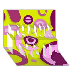 Florescent Yellow Pink Abstract  Thank You 3d Greeting Card (7x5)