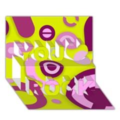 Florescent Yellow Pink Abstract  You Rock 3D Greeting Card (7x5)