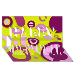 Florescent Yellow Pink Abstract  Happy New Year 3D Greeting Card (8x4)