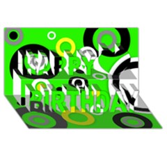 Florescent Green Yellow Abstract  Happy Birthday 3D Greeting Card (8x4)