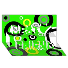 Florescent Green Yellow Abstract  Best Friends 3D Greeting Card (8x4)