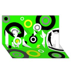 Florescent Green Yellow Abstract  Mom 3d Greeting Card (8x4)