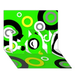 Florescent Green Yellow Abstract  BOY 3D Greeting Card (7x5)