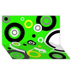 Florescent Green Yellow Abstract  Twin Heart Bottom 3D Greeting Card (8x4)