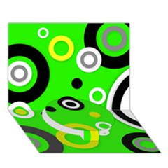Florescent Green Yellow Abstract  Circle Bottom 3d Greeting Card (7x5)