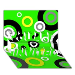 Florescent Green Yellow Abstract  You Are Invited 3d Greeting Card (7x5)